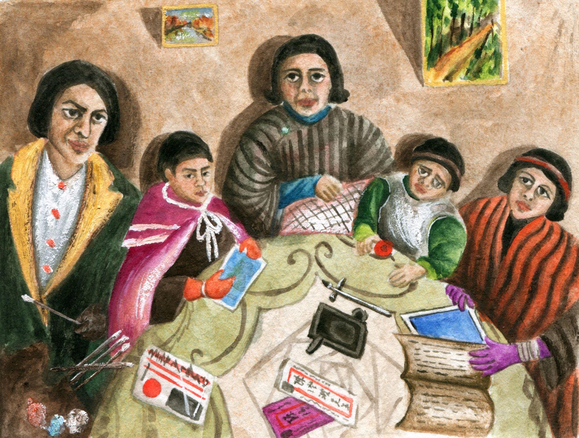 陳澄波(1895-1947)1931年作品《我的家庭》,許書寧摹繪。