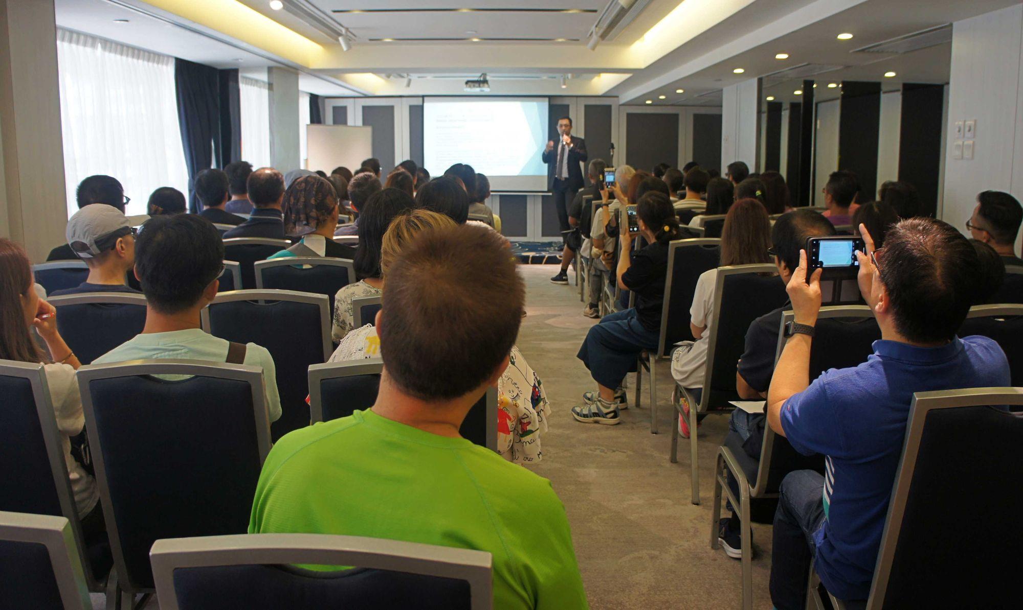 圖為貝爾國際顧問公司於香港舉辦移民臺灣講座現場實況。(照片來源:貝爾國際顧問公司提供)